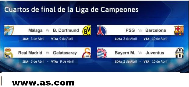 cuartos-de-final-Champions% - Atención futboleros ya tenemos emparejamientos de cuartos