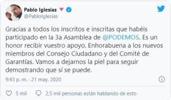 iglesias-ganador-tuit% - Iglesias y su equipo   seguirán mandando en  Podemos