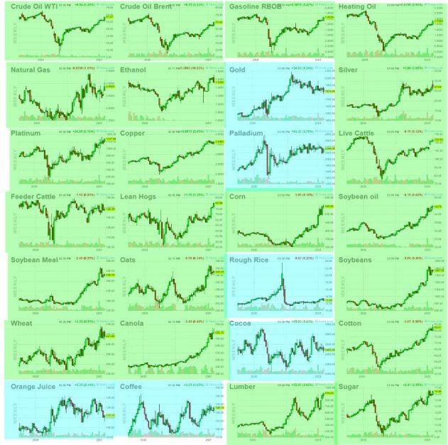 COMMODITIES-8-FEBRERO-2021% - Las gráficas de casi todas  las commodities se pintan de verde