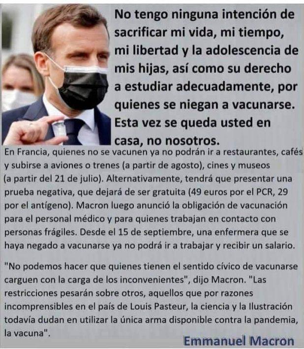 macron-covid% - Macron raya en el  estalinismo  con el problema del Covid en Francia