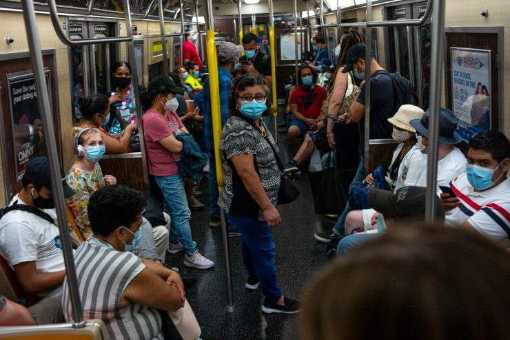 Masked riders on the subway