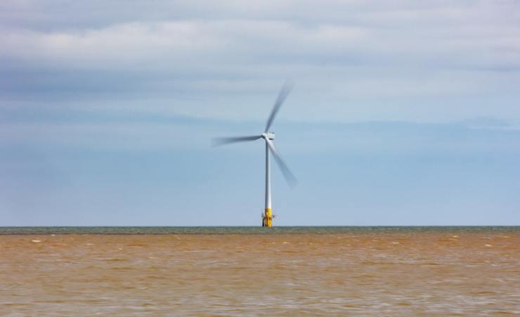 A wind turbine at sea