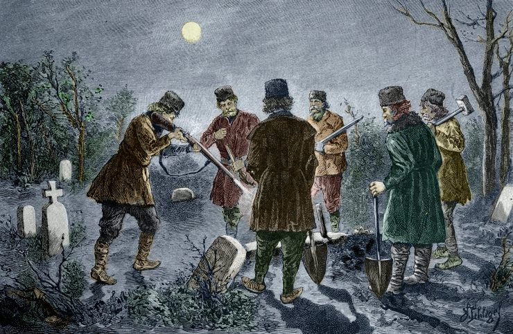 A 19th-century engraving depicts men in coats and hats shooting at a vampire in a cemetery in Romania.