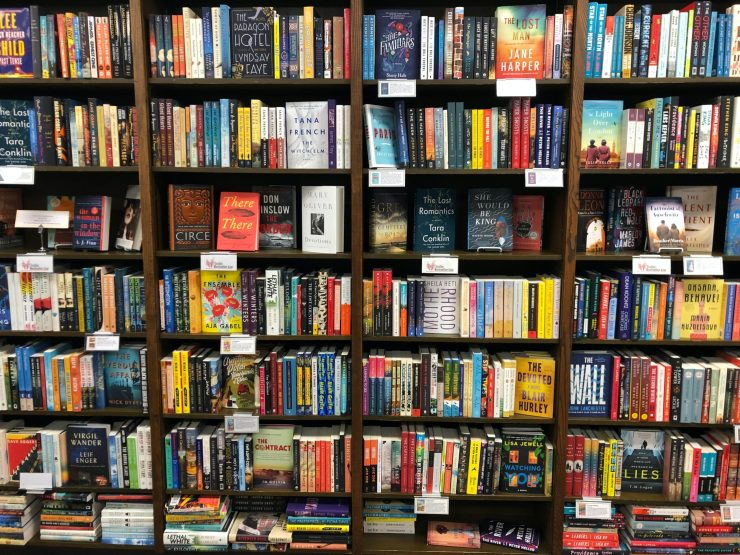 Bookshop shelves.