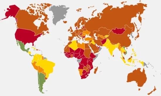 2012年地球幸福度指数(HPI)マップ