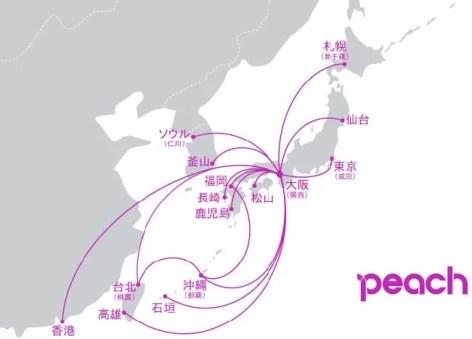 LCC-ピーチpeach路線図