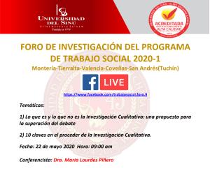 Foro de investigación del Programa de Trabajo Social 2020-1 - Dra. María Lourdes Piñero