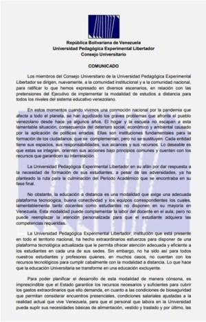 Comunicado del Consejo Universitario - página 1