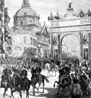 Decoraciones efímeras con motivo de la boda de Alfonso XII en Madrid, 1875.