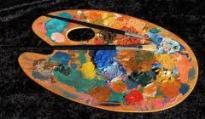 Paleta con pinturas al óleo