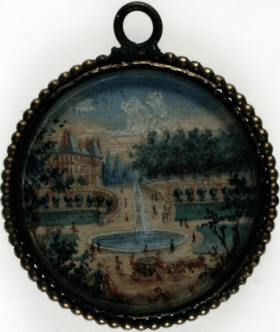 Círculo de Lioux de Savignac, escula francesa. Jardín, 1767-1825. Gouache sobre marfil. Museo Lázaro Galdiano, Madrid.