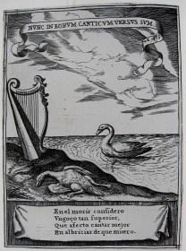 """Jeroglífico nº3 """"Nunc in eorum canticum…"""". Incluido en Pedro Rodríguez de Monforte: Descripción de las honras…, Pedro de Villafranca (grabador)."""