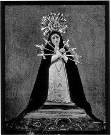 Foto antigua de la Virgen de los Siete Dolores (destruida).