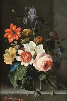 René Van der Berghe: Bodegón de flores. Siglo XX. Salido a subasta en 2010.