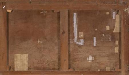 Parte posterior de un lienzo en el que se observan diversos injertos e intervenciones.