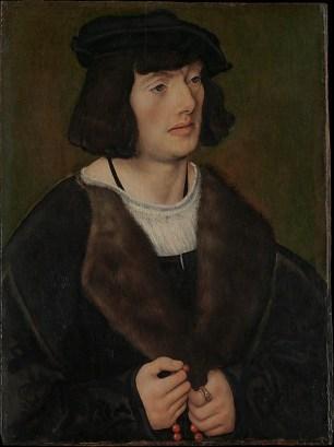 Lucas Cranach el viejo: Retrato de hombre con un rosario. New York, Metropolitan Museum.