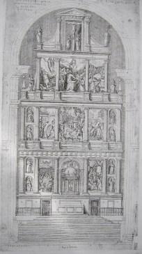 Pedro Perret. Estampa del diseño del Retablo con los cuadros de Federico Zúcaro