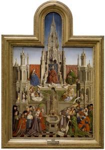 Escuela de Jan van Eyck: La fuente de la Gracia. ca. 1445. Museo del Prado. Procedente de la sacristía del monasterio jerónimo de Santa María del Parral en Segovia.