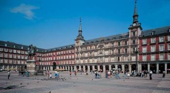 Vista actual de la Plaza Mayor de Madrid. Wikimedia Commons.