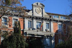 Detalle de la fachada de la Antigua Escuela de Ingenieros de Caminos. Foto: Gracias a @_ElRetiro