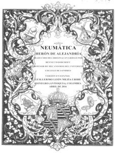 """Herón de Alejandría: Porta de la traducción al castellano de """"Neumática""""."""