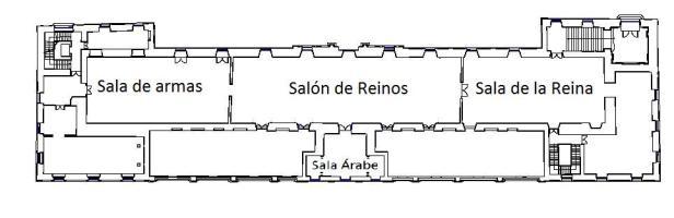 Planta del primer piso del Salón de Reinos. Foto: Museo del Prado.