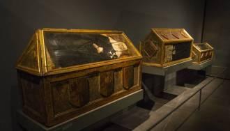 Tres de las siete piezas pertenecientes a Sijena expuestas en el Museo Diocesano de Lérida.