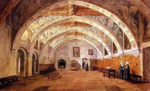 Valentín Carderera: Acuarela del interior del Monasterio de Sijena.