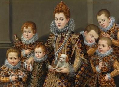 Lavinia Fontana: Retrato de Bianca degli Utili Maselli, sujetando un perro y rodeado de sus seis hijos. Mercado del Arte (Sotheby's, Enero 2012, lote 48).