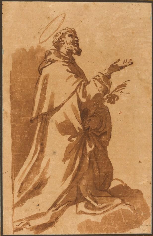 Elisabetta Sirani: Santo fraile arrodillado. Madrid, Museo del Prado.