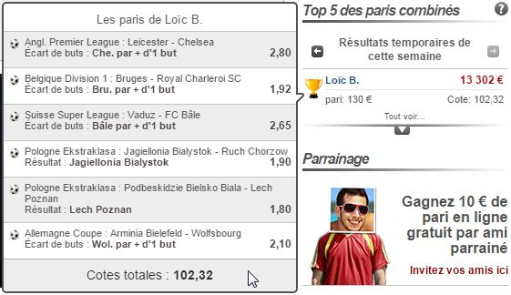 Top paris combinés - Cote de 102,32