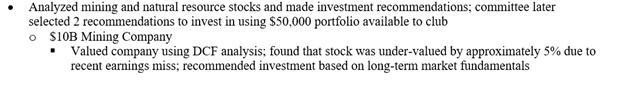 investment banking training resume