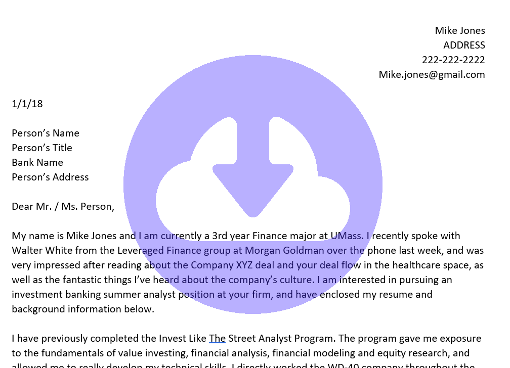 Access The Investment Banking Cover Letter Template Below