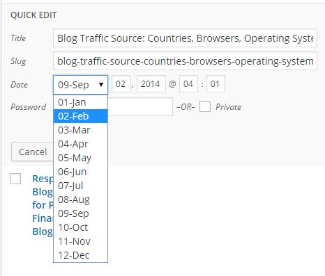 Editing Post in WordPress Quick Edit