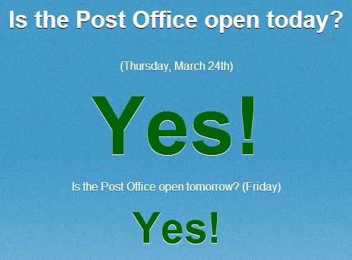 is the post office open today or closed