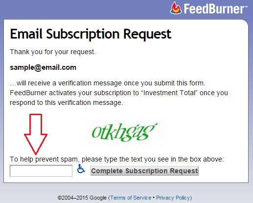 email subscription form feedburner