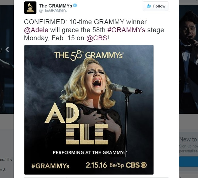 Adele Perform on 58th Annual Grammy Awards 2016