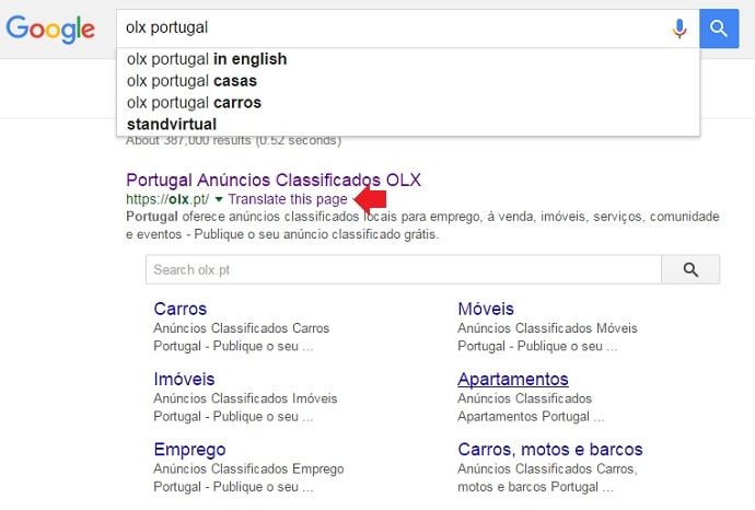 Translate OLX Portugal in English via Google Translate