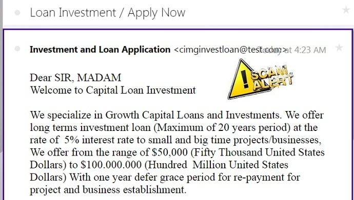 investment and loan application scam alert