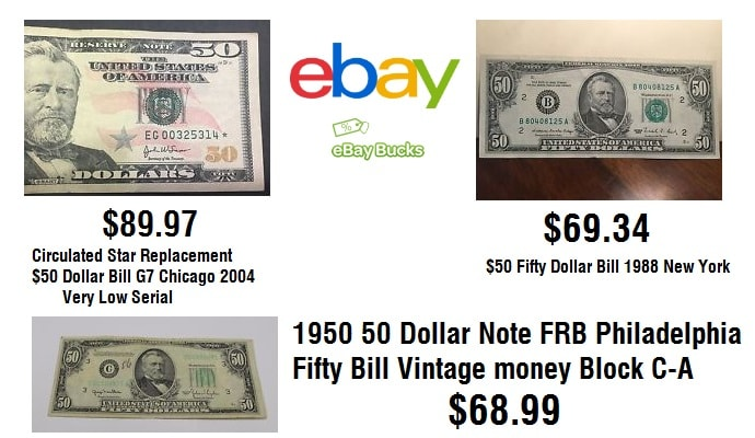 Old Fifity 50 Dollar Bill Prices on eBay Bucks