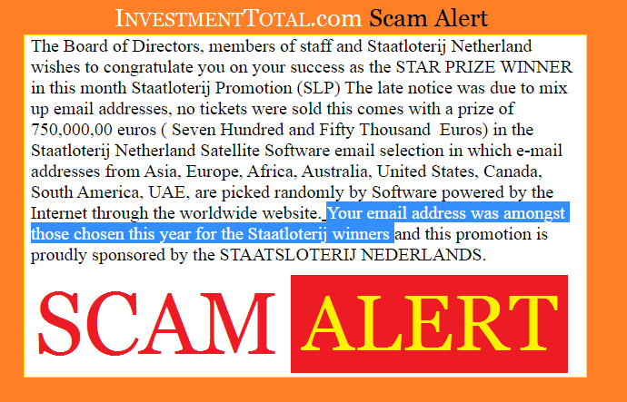 Scam Alert: Lottery Winner Email Selection from STAATSLOTERIJ NEDERLANDS