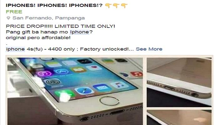 Avoid Cheap iPhones for Sale in Facebook (Scam Alert)