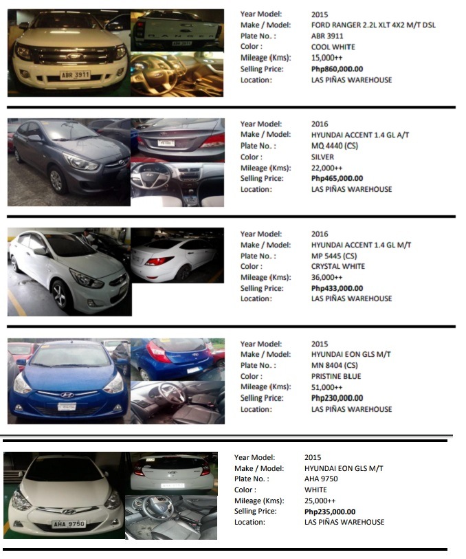 Used Cars for Sale from Bank of Commerce 2015 to 2017 Car Model