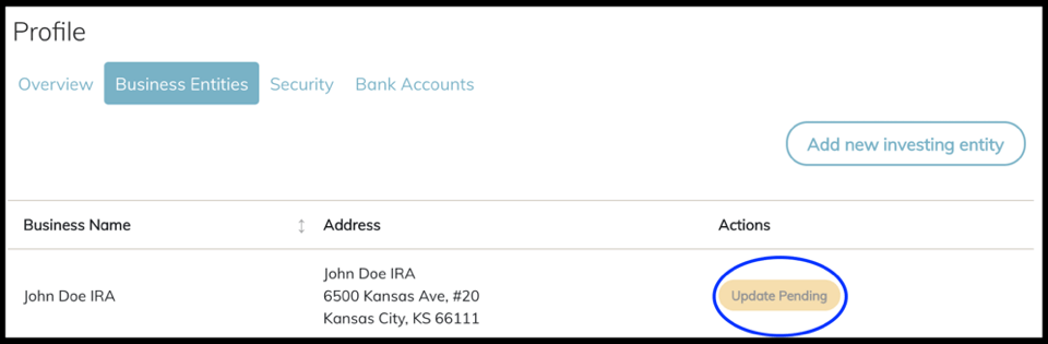 Screenshot of investor legal entity update pending screen