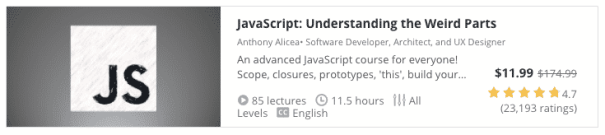 udemy course javascript weird parts