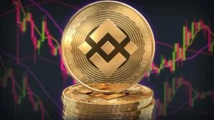 A Binance Coin (BNB) sits in front of trading charts.