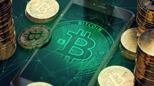 A render of bitcoin surrounding a smartphone.