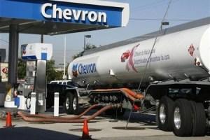 18831 A Chevron Tanker Truck Unloads Gasoline Into Underground Sto