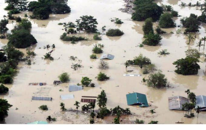 Myanmar flooded houses