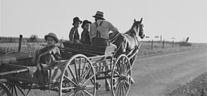 Mennonite farmer going to town, near Lancaster, Pennsylvania